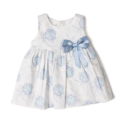 Baby Girls Spanish White Blue Floral Dress Cotton Rich Satin Bow Party 6-24M