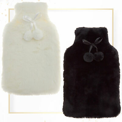 Ladies Rubber Hot Water Bottle Pom Poms Cute Cosy Fluffy Fur Cover Gift Set 2L