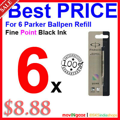 6x Parker Quink Flow Ball-Point FINE BLACK Ink Refill  ** LIMITED STOCK OFFER **