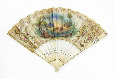 Fine FABRIQUE D'EVENTAILS NATHALIE Inlaid HAND PAINTED FAN c1900 a/f CASED