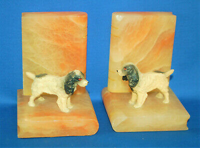 Pair of antique spaniel dog bookends, cold painted metal, onyx, Victorian