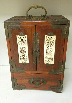 Ornate Vintage Wood & Brass Chinese Jewelry Box  Silk Lined  Jade Green