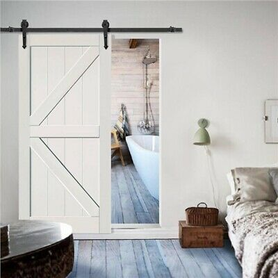 6 FT Sliding Barn Door Hardware Track Roller Kit Closet Rail Roller Set Black