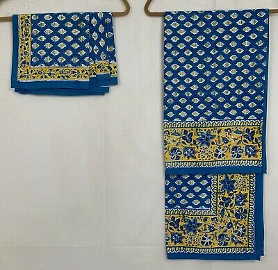 Vtg Pomegranate Tablecloth 4 Napkin Set Cotton Square Floral Blue Gold India