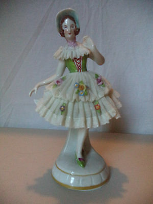 Antique Vintage German Dresden Lace Lady Porcelain Figurine Statue!