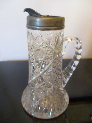 Antique Vintage American Brilliant Period ABP Cut Glass Crystal Pitcher Tankard