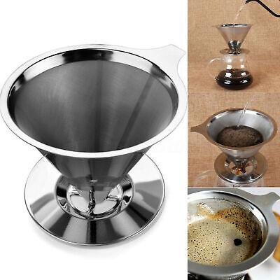 Stainless Steel Pour Over Cone Dripper Coffee Filter with Cup Stand Reusable