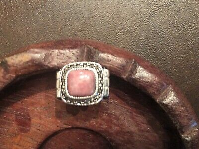 Sterling Silver Rhodochrosite And Marcasite Ring Size 6.5, 10.0 Grams