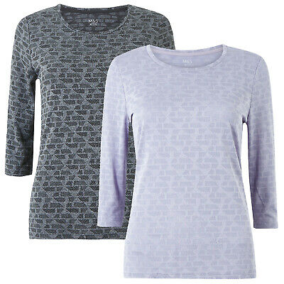 Marks & Spencer Womens Jacquard Gym Top Round Neck 3/4 Sleeve New M&S Fitness T