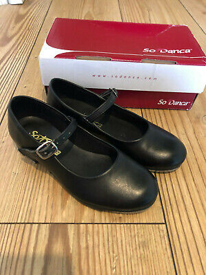 So Danca Girls Black Buckled Tap Shoes | UK Child size 9