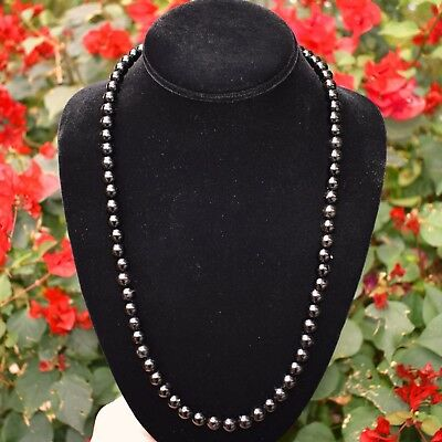 """CUSTOM MADE 35"""" Premium CHARGED Black Tourmaline Crystal 8mm Necklace -108 beads"""