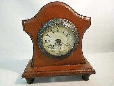 Antique Style Wood Quartz Mantel Clock Footed Distressed Look with Metal Bezel