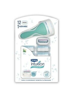 Schick Intuition Sensitive Care Razor With 2 Handle And 12 Cartridge Refills New