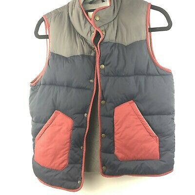 Mini Boden Boys Sz 11 12 Youth Puffer Vest Dark Blue Gray Maroon Snap Front