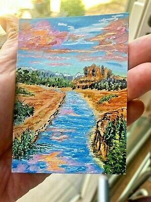 Aceo ORIGINAL Landscape Painting, Acrylic River & Mountains, Glowing Clouds