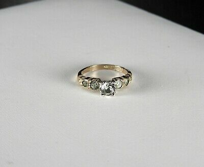 Vintage Art Deco White Topaz Paste Ring Solid Sterling Silver Gold Filled 10K 7
