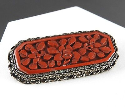 Antique Carved Vintage Chinese Export Cinnabar brooch pin 800 Silver Large