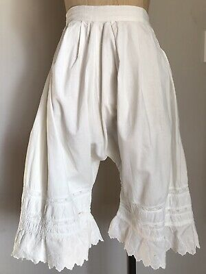 White Cotton Pantaloons Bloomers Antique Edwardian Embroidered Lace Vintage XS