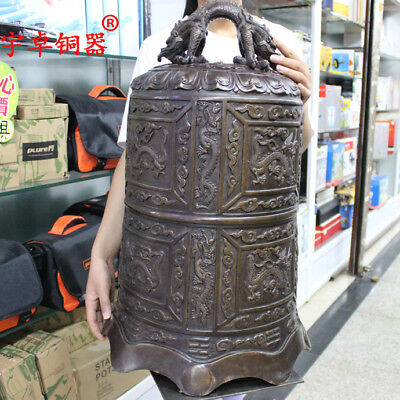 25'' China Temple Bell Carve Dragon Clouds Warning Clock Bronze Statue