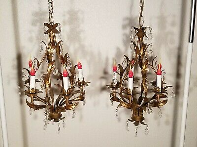 PAIR of Vtg Petite Birdcage Chandelier Italy Tole Gold Hollywood Regency Prisms