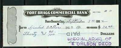 Us Fort Bragg Commercial Bank Of Fort Bragg, California Cancelled Check 9/3/1912
