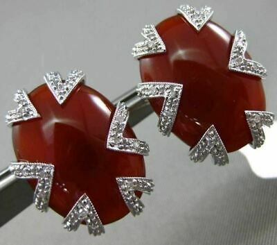 Estate Large .11Ct Diamond 18K White Gold 3D Carnelian Filigree Clip On Earrings
