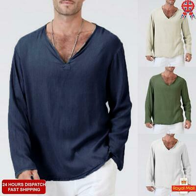 UK Mens Cotton V Neck Loose Long Sleeve Basic Tee T-shirt Casual Slim Tops S-2XL