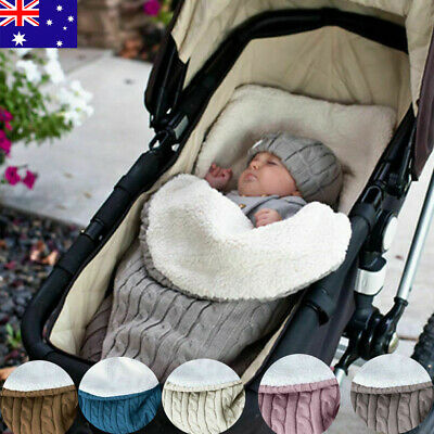 Newborn Baby Hooded Swaddle Knit Wrap Swaddling Blanket Pram Sleeping Bag AU