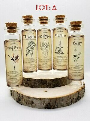 Apothecary Glass Bottles With Labels For Herbs Pagan Spells Wicca 20 Ml New