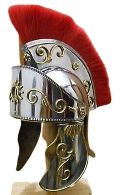 New Helm KING ARTHUR ROMAN HELMET WITH RED PLUME SCA Halloween Gift For Friends