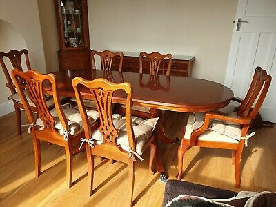 Yew expanding Dining Table ,6 Chairs,sideboard And Corner Unit