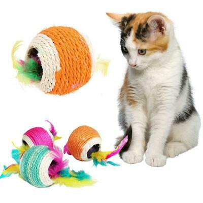 Sisal Rope Feather Ball 7.5cm/2.95'' Scratch Play Toy Pet Kitten Cat Interactive