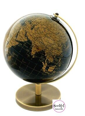 QUALITY World Globe Black & Bronze/Gold on Stand Home Decor 25cm Gift Idea