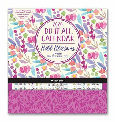 2020 Do It All Magnetic Wall Calendar Bold Blossom Includes Pocket Orange Circle