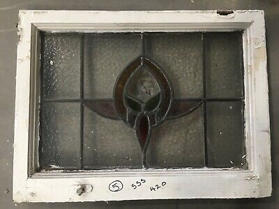 Vintage Stained Glass Window  Architectural Antique Old Art Deco Wooden