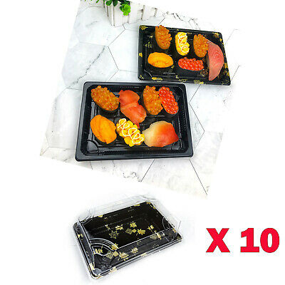 10x Packing Small Buffet Party food Platter Trays & Lids Cakes Sushi Party Clean
