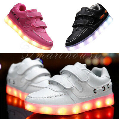 LED Shoes Light Up Causal Luminous Sport Sneakers Trainers Kids Boys Girls UK