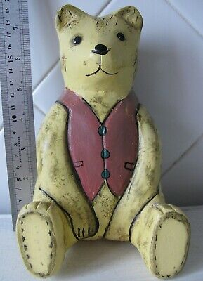 Vintage wood carving statue Wooden Bear, Europe, height 19 cm Free shipping!