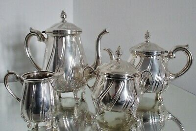 Ancien service à thé / café métal argenté Louis XV silverplate tea set