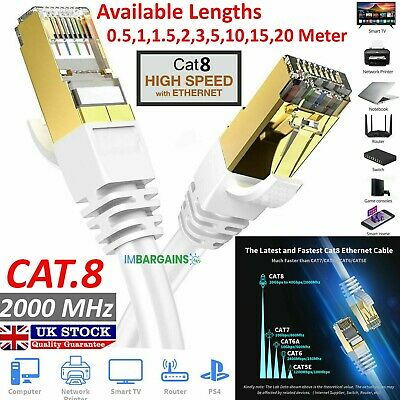 RJ45 CAT8 Ethernet Network SSTP 40 Gbps Patch Lead Cord Cable LOT 0.5M TO 20M UK