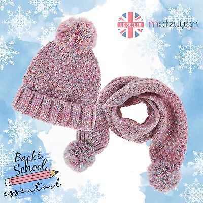 Girls Hat Scarf Set Pom Poms Warm Winter Back To School Knitted Pink 3-13 Years