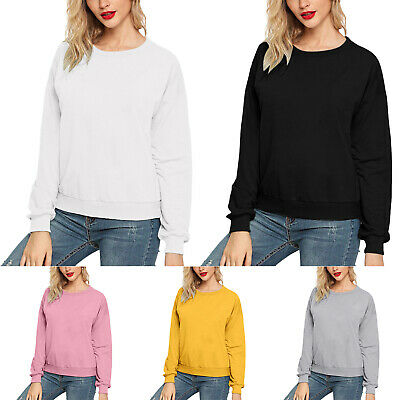 Women Long Sleeve Crew Neck T-shirt Tops Loose Fit Pullover Casual Sweatshirt