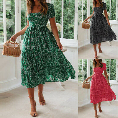Womens Ladies Retro Midi Dress Square Neck Printed Vintage Beach Ruffle Sundress