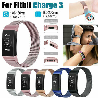 For Fitbit Charge 3 Strap Replacement Milanese Band Stainless Steel Magnet Metal