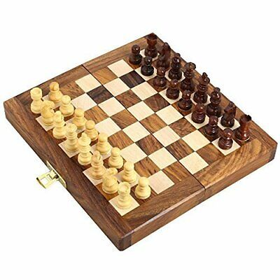 Folding Magnetic Travel Chess Board Set Wooden Game Handmade Small Chess 7 Inch