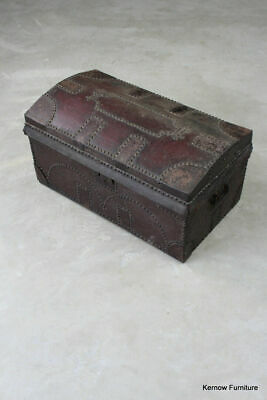 Antique Vintage Studded Leather Dome Top Trunk