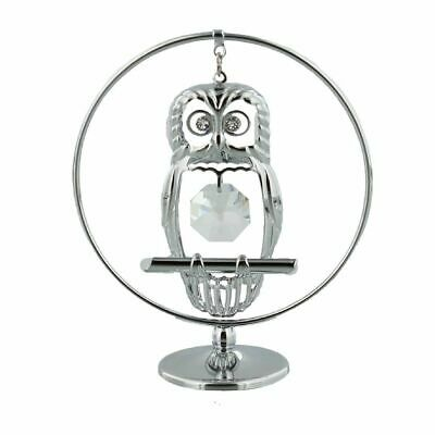 Crystocraft Crystal Owl Ornament With Swarovski Crystal - Freestanding SP208
