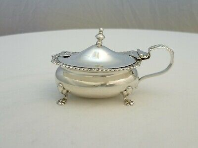 """Mustard Pot; 3 ¾"""" Sterling Silver with Blue Glass Liner B.1919, 99mm, 135g."""