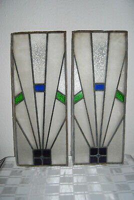 Pair Matching Vintage Art Deco Stained/ Lead Light Windows. 29.75 X 11.75 Ins
