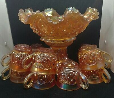 Northwood Marigold Carnival Glass Memphis Pattern Punch Bowl Set